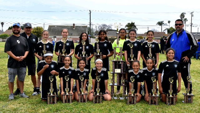 Pictured above is the California United's 2006 Girls Team Top Row l –r: Tony Hernandez (AC), Cip Martinez (AC), Brooke Nunez, Mikayla McKEnzie, Isabel Hernandez, Jadon Rodriguez, Gariela Martinez, Athena Sanchez, Jessica Rodriguez, Jose Luis Lomeli Jr (HC) Bottom Row l – r : Kim Manriquez, Ashley Hernandez, Miley Tello, Karissa Terrazas, Victoria Pina, Grace Beltran, Alexis Pina Not pictured Livia Cabral. California United FC, has become one of the counties well known and respected Soccer Clubs. In the Oxnard County Soccer League six of nine teams competed in the Spring. All six teams qualified for the playoffs this year.  On Saturday, May 18, 2019, four of the six teams were crowned Champions. The Club recently affiliated as a member of Cal South, 8 teams of the 9 will be competing competitively this fall. Congratulations to the Champions from this past weekend: California United FC's 2011G, 2008G Black, 2008G Blue, and 2006G. Submitted by Nancy Vaca.
