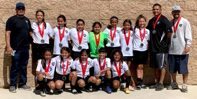 Pictured above is Fillmore's California United FC 2008 Girls Blue Team who placed 2nd in California United's first Friendly Tournament held this past weekend in Fillmore at Two River's Park, August 10th and 11th. Top row left to right: Assistant Coach Aciano Mendez, Lizbeth Mendez, Alondra Leon, Anel Castillo, Delila Ramirez, Valerie Rubio, Nathalia Orosco, Jazleen Vaca, Head Coach David Vaca, and Assistant Coach John Cabral. Bottom row left to right: Danna Castillo, Leanna Villa, Sara Diaz, Fiona Cabral and Joelle Rodriguez. Photo courtesy Nancy Vaca.