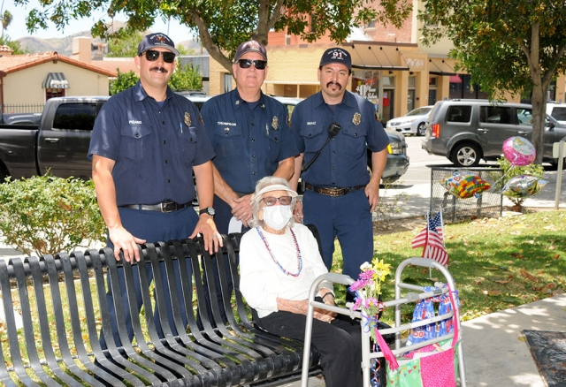 On June 8th Fillmore celebrated Florine Data's 103rd birthday in front of City Hall. Pictured above is Florine with some of the Fillmore Firefighters who came out to celebrate with her.