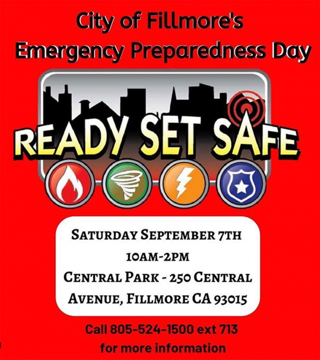 DON'T FORGET... Join us this Saturday, September 7th for the City of Fillmore's Emergency Preparedness Day in Central Park from 10 a.m. to 2 p.m. See emergency personnel and their vehicles, talk to real life heroes who respond to emergencies throughout Ventura County! We hope to see you this Saturday in Fillmore. Check out the FB Event link to get updates as they become available about this event: https://bit.ly/2lyDL8G. Courtesy City of Fillmore Instagram page.