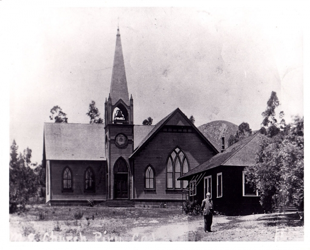 David C. Cook in front of the Piru Church. He paid for the building of the Piru Methodist Episcopal Church and also built the Piru Mansion, which was his home; both are still standing today. Photos courtesy Fillmore Historical Museum.