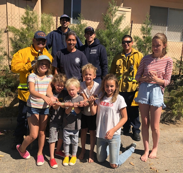 The Fike family of Fillmore had an unpleasant surprise last week when a 7-year old rattlesnake was discovered in a pipe near their home in the foothills north of Fillmore. Fillmore fire responded and lured him out, sending him to snake heaven, then promised to return the skin to the family.
