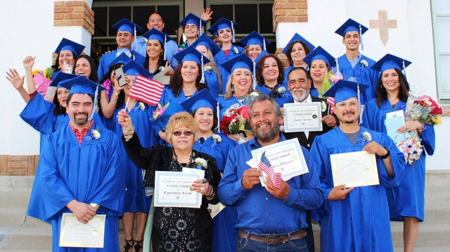 "Pictured above is the Fillmore Adult School Class of 2019. Following is a message from Tom Chan, Director Special Projects and Student Services, Fillmore Unified School District: ""Fillmore Adult School is a place where people re-imagine a future of opportunities for themselves and their families. More than 40 students this year qualified to graduate, meaning they became a U.S. Citizen, earned a high school diploma, or passed the high school equivalency test. I'm beyond proud of our students! The energy, initiative, and commitment to their own learning inspires us to match that urgency and give them all we've got. I am beyond proud of my staff for their steadfast commitment to serve the needs of others. I am also deeply grateful for the District and Board of Trustees for their continued support - none of this would be possible without it! Congratulations to the 2019 Fillmore Adult School Graduates and their families!"" Courtesy Fillmore Adult School website."