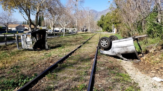 On February 14, 2020, a car, split in half, lay on either side of the railroad tracks near the intersection of Sespe Avenue and Old Telegraph Road. According to eye witnesses who watched the filming of Comedy Central's Reno 911, flames were shooting out of both halves of the car, and somehow, a cat was involved. The return of Reno 911 premiers later this year on the new Quibi streaming service.