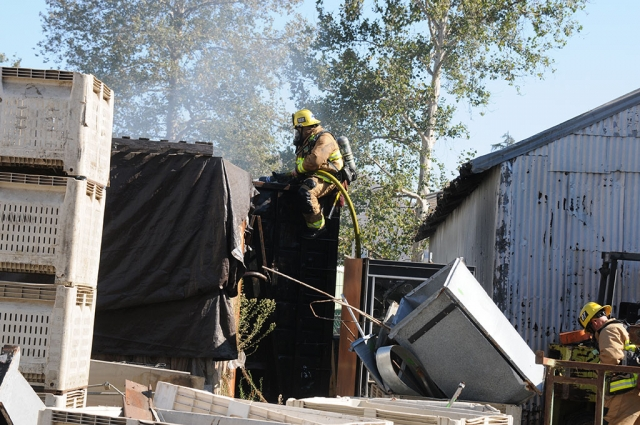 On Tuesday, August 25th at 4:26pm at the corner of Sespe Avenue and A Street, Fillmore Fire and Police Departments responded to a large dumpster fire behind the fruit packing house along the railroad tracks. Crews extinguished the flames quickly. Cause of the fire is under investigation.