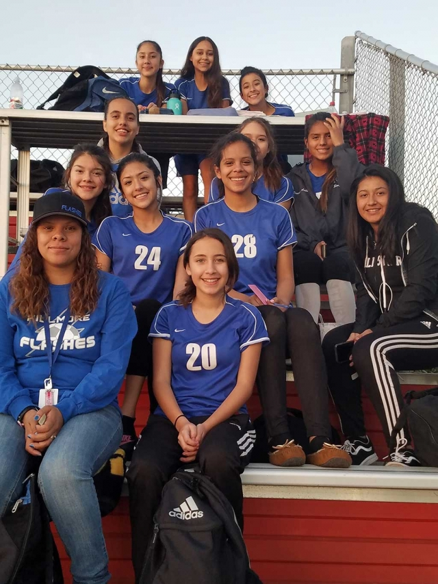 Pictured is the Fillmore High School Girls Frosh Soccer Team huddled together after a tough lose to Carpinteria this past week. Nicole Gonzales scored the lone goal. Lady Flashes had 15 shots on goal. Goal Keeper Nely Lara had 7 saves. Photo courtesy Coach Omero Martinez.