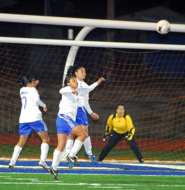 Fillmore's defense tried their best to keep the ball out of the goal. Fillmore lost 0-5. Fillmore plays Oaks Christian on Friday, January 29.