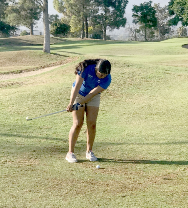 Flashes golfer Destiny Menjuga getting ready to take her shot in their match against Santa Barbara last week. Photo courtesy Coach Dave Mac Donald.