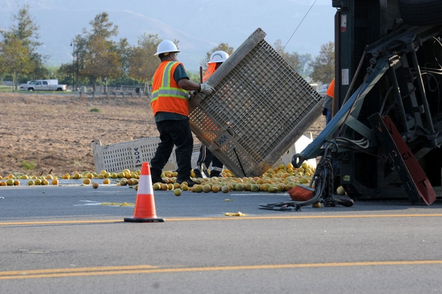 On October 15th at 3pm a semi-trailer truck transporting lemons overturned on Highway 126 west of O'Reilly Auto Parts in Fillmore, spilling lemons along the highway. Crews redirected traffic while a tractor scooped up the lemons blocking the road. Cause of the accident is still under investigation.