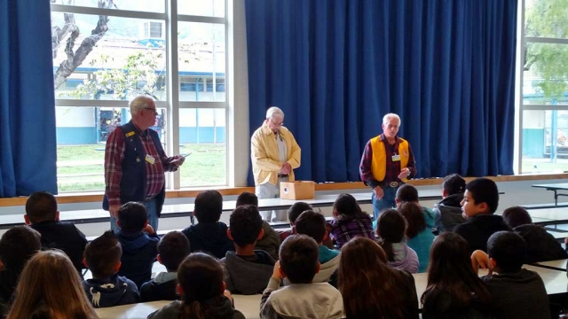 Bill Baumgartner, Jack Stethem Bill Edmonds of the Fillmore Lion's Club, spoke to San Cayentano students about the Lions Club and the role their in the Community.