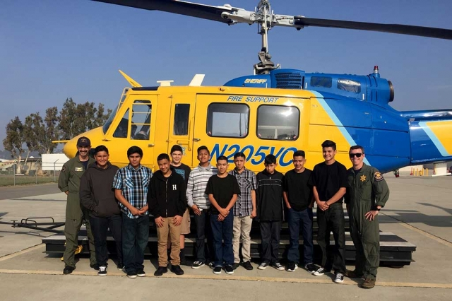 On Wednesday, December 14th, The Fillmore Middle School Public Safety Club took a field trip to The Ventura County Sherriff's Office Air Unit in Camarillo, the Command Post in Ventura, and the Dispatch Center in Ventura. The Fillmore Middle School Public Safety Club is a pathway club that completes community service hours by assisting the Fillmore Police Explorer Post # 2958 with some of their events and activities in the communities of Fillmore and Piru. The club provides young men and women with experiences to prepare them to become responsible, caring adults.  The Public Safety Club also provides students with training and education to develop general interest in public safety. The Fillmore Middle School Public Safety Club would like to thank Deputy Rubalcava, Deputy Valenzuela, Cadet Espinoza, The Ventura County Sheriff's Office Air Unit and the Dispatch Center for a great learning experience. Story and Photos By Isela Larin.