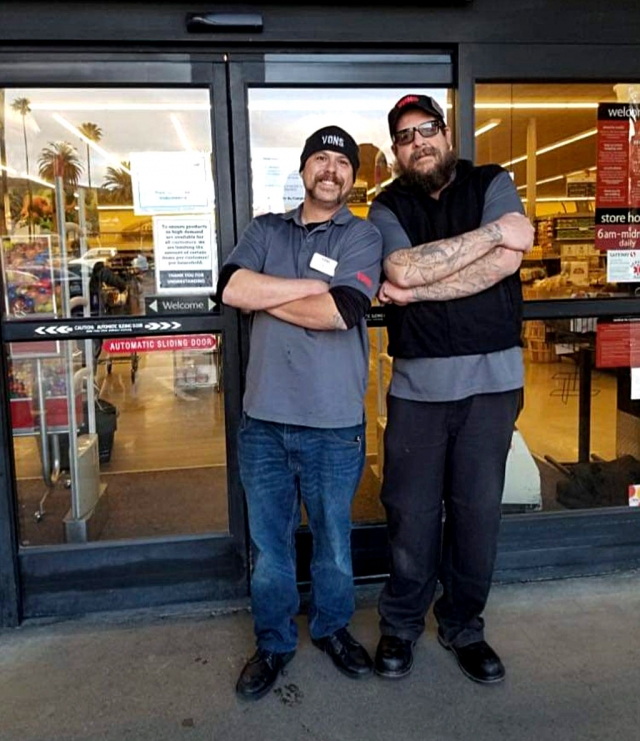 Thank you to Mikey and Clay for making sure the seniors and compromised health customers who shop at Vons Market have their time to shop, from 7am to 9am, Monday through Friday. Courtesy Jennafer Wiebelhaus-Ramirez Facebook page.