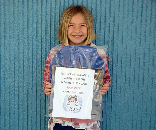 Perfect Attendance Winner this month from San Cayetano is Julia Pace, a third grader.