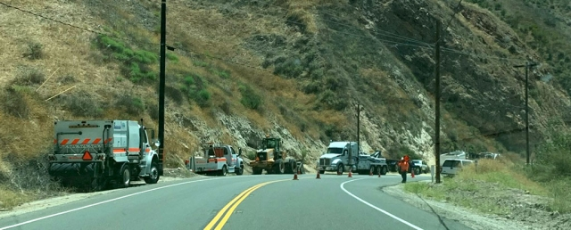 On Monday, July 6th at 7:28am, near the Grimes Canyon Rock Quarry, a semi-truck filled with sand rolled over blocking north and south-bound lanes. Crews responded quickly to the scene and cleared the south-bound lane to allow traffic through. Authorities are investigating the accident.
