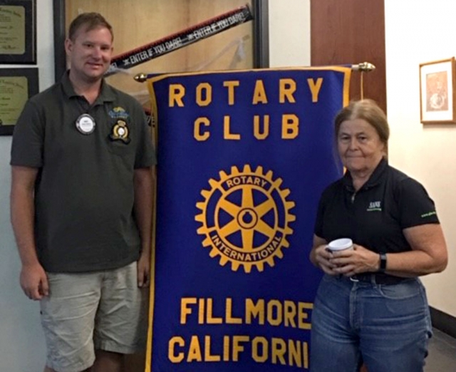 Pictured is Rotary Club President Andy Klittich and Rotarian Barbara Filkins. In honor of National Cyber Security Awareness Month in October, Filkins spoke about ideas on how to protect yourself from being a cyber victim. Photo courtesy Ari Larson.
