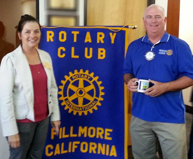Last week Jerry Peterson, a Fillmore Rotarian was presented a mug, and talked about officiating. He began officiating Little League, when his son was involved and later Girls Softball with his daughter. He informed the Club about the training he has taken and exams he has to take every year. He is associated with the Amateur Softball Association and after several years he now trains the trainers. He also officiates at National tournaments.