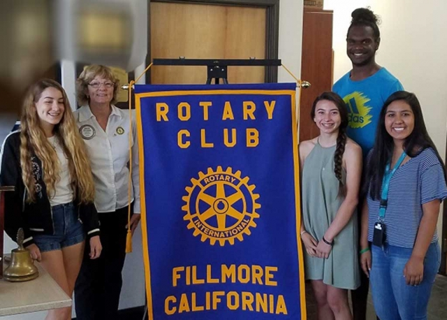 Four Fillmore High School students attended the Rotary Youth Leadership Awards Camp in Ojai recently. They followed up with a visit to the Fillmore Rotary Club, who sponsored them, and told of their experiences. Pictured (L-R) Grace Garnica, RYLA Chair Martha Richardson, Yanelli Cobian, Josh Cox (Rotary Exchange Student from Australia) and Arianna Magana. Submitted by Martha Richardson.