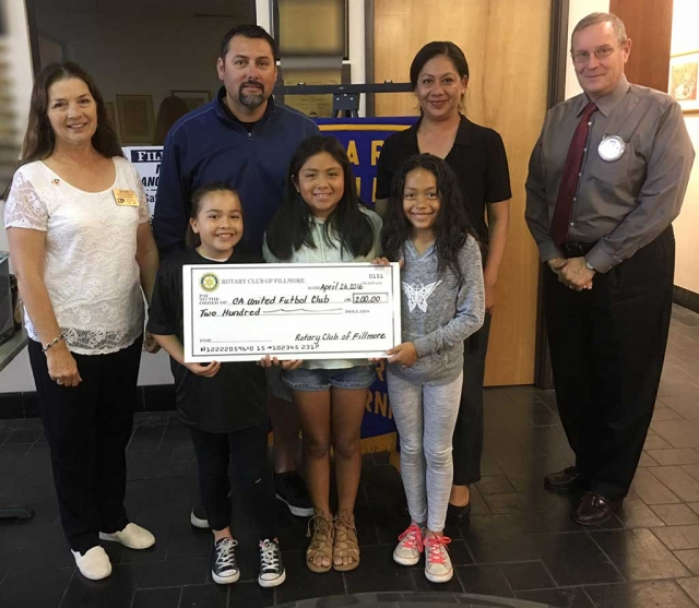 Pictured (back row, l-r) are Rotary President Julie Latshaw, Coach Jose Lomeli, Bea Pina, Kyle Wilson; (front, l-r) Karissa Terrasa, Victoria Piña, and Alexis Piña. Fillmore Rotary presented a $200 donation to local California United Futbol Club. Coach Lomeli from California United Futbol Club brought three of his soccer players to speak about the organization. His goal is to teach the young players the skills they will need when they join the upper level teams. Submitted By Martha Richardson.