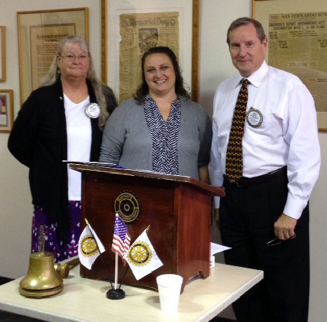 (l-r) Cindy Blatt sponsor, Kate English new Rotary member, and Kyle Wilson President.