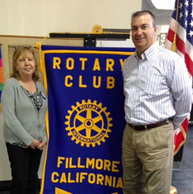 Dave Rowlands, City Manager, presented the program at Fillmore Rotary recently. He informed the Club about what the city is doing at the Equestrian Park. Since the City is now in charge they have been cleaning it up, and hauling off trash, weeds and old buildings, and getting it in good working order. Pictured left, councilmember Carrie Broggie.