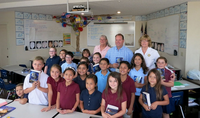Rotary members Cindy Blatt, Scott Beylik and Martha Richardson visit the students at Fillmore Christian Academy and present each student with a dictionary. The Rotary Dictionary Project was very successful again this year. Rotary members visited each Elementary School in the Fillmore Unified School District and presented each third grader with a dictionary, they can keep. The Club has been doing this for ten years and has given about 4,000 dictionaries away.