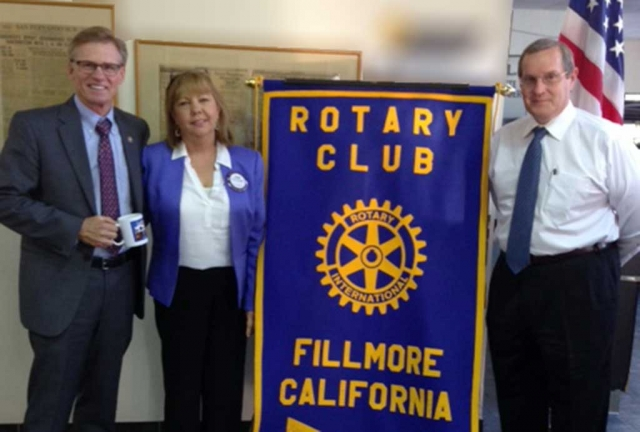 Greg Totten, Ventura County District Attorney and Rotary speaker, Program Chair Carrie Broggie, and Rotary President Kyle Wilson.