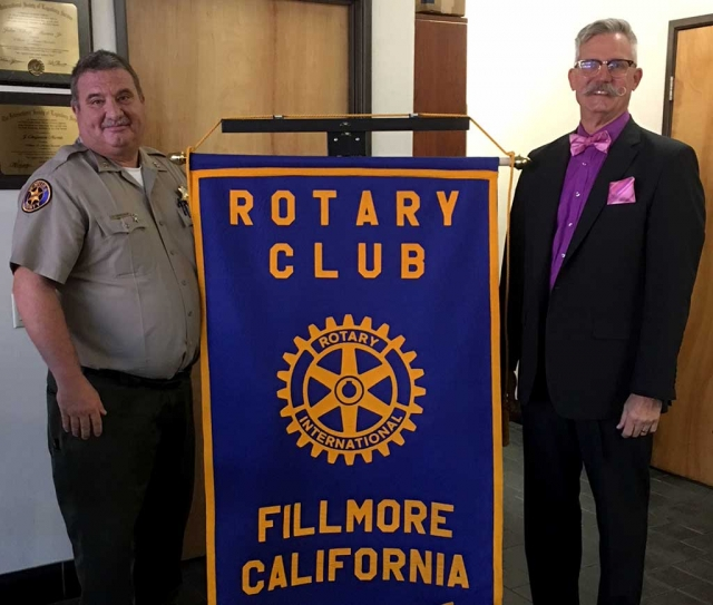Pictured is Rotary President Dave Wareham with guest speaker Doug Leeper. Doug is Director of Resource Management Agency Code Compliance Division in Ventura County. They check everything from gas pumps at stations, scales at grocery stores, to properties that pose a danger to others. Photo courtesy Martha Richardson.