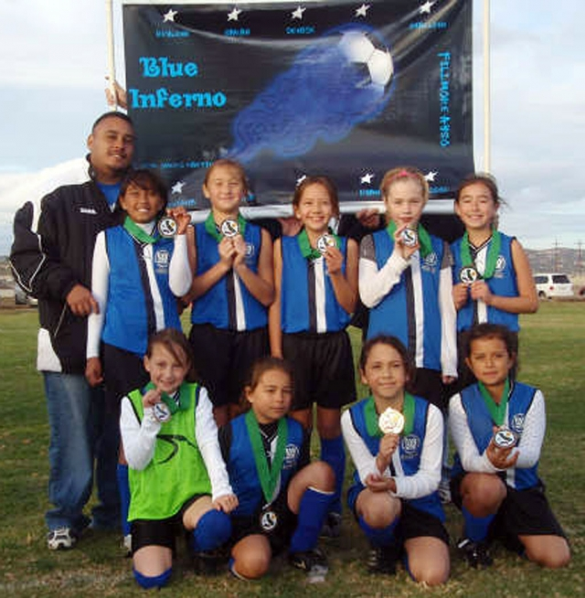 Top Left to right: Coach Omero Martinez, Reylene Martinez, Ryan Nunez, Aviana Ramirez, Sarah Stewart, Shaelene Inda. Bottom Row Left to Right: Emma Couse, Bella Olivares, Maddie Charles, & Denise Santa Rosa. Congratulations Ayso Girls BLUE INFERNO for taking 4th place out of 25 teams from Ventura and Santa Barbara Counties in 10&U AYSO Soccer, last weekend held in Camarillo. WAY TO GO GIRLS!!!!