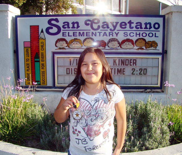 Elizabeth Castaneda is a fifth grader at San Cayetano School and this year's Spelling Bee Winner. She is in Mr. Maus's class. There were 10 participants and Lizzie prevailed as the winner.