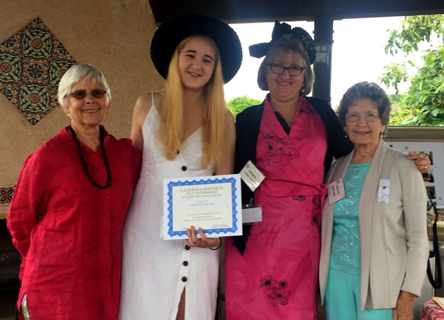 Pictured (l-r) are Amy Gage (Hannah's grandmother), Hannah Bartels of La Reina High School, Laura Bartels, and May Ford, PEO Chapter GY President. Photos courtesy Sue Zeider.