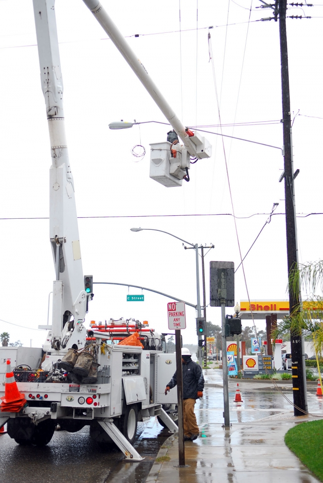 A street light was attached to the existing utility pole at 126 and C Street to illuminate the dark corner at night, making it safer for pedestrians, including kids headed to and from the skate park after dark.