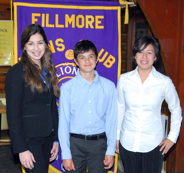 "Monday night's Lions Club meeting hosted the 72nd annual Student Speaker Contest 2009. The theme of the contest was ""Water, Will California Be Left High and Dry?"" Contest Chair Bill Edmonds presented the rules of the contest and three student participants spoke. There was a three minute pause between speakers to allow the
