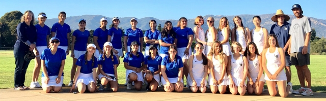 Pictured above are the Fillmore Flashes Girls Tennis Team (left) and the Laguna Blanca team after their match Tuesday, August 27th. Photos courtesy Coach Lolita Wyche-Bowman.