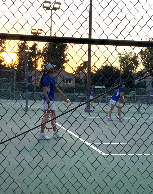 Pictured above are two Flashes girls tennis as they get ready to serve the ball to the Santa Clara players in their match last Tuesday, September 17th. Photos courtesy Coach Lolita Bowman.