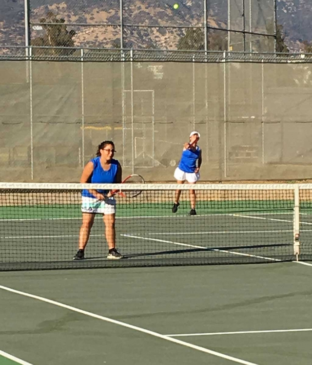 Lady Flashes Karime Renteria and Briana Lopez as they play in a doubles match against Villanova. Photo courtesy Coach