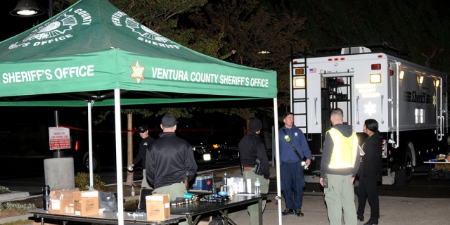On Sunday, October 13th, from 7 p.m. to midnight, the Fillmore Police Department held scheduled police training at the VC Behavioral Health building, 840 Ventura Street. Pictured is the staging area set up outside the building, as officers inside practiced clearing the building from a burglary.