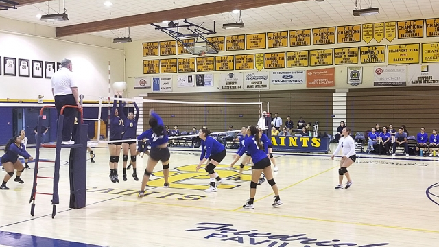 Thursday, August 29th Fillmore traveled to Santa Clara. Pictured is Flashes Varsity's #24 spiking the ball at the Santa Clara players as they try to block.