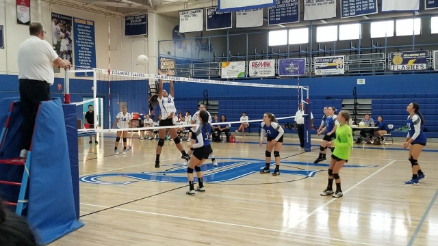 On Monday, September 23rd the Fillmore Flashes Girl's Volleyball team took on Desert High School. Pictured above is Flashes #2 jumping to make the block against the desert player. On September 17th the Flashes lost to Nordhoff in 3 sets, 10-25, 10-25, 12-25. Standout players: Ashley Yepez had 4 kills, Olivia Palazuelos had 4 kills and 3 blocks. On September 19th the Flashes traveled to Santa Paula and lost with score being 22-25, 23-25, and 18-25. Standout Players: Olivia Palazuelos 8 kills and 2 blocks, Emma Ocegueda had 13 digs, and Nathalia Magana 2 serving aces, 12 digs, and 15 assists. Saturday, September 21 the Flashes Traveled to a tournament out at Carpinteria. They played against Santa Ynez, Chaminade, took a win from Cabrillo, and then lost to Chaminade during championship play. On Tuesday, September 24th the Flashes hosted Desert High Scores were 25-20, 21-25, 25-22, 25-23. Top players were Olivia Palazuelos 3 blocks, 8 kills, 2 aces. Nathalia Magana 3 aces and 15 assists. Tori Gonzales 3 aces, 11 digs, and 10 kills. Our record is 1-2 for Citrus Coast league and 3-6 overall. Submitted by Coach Tanya Gonzales.