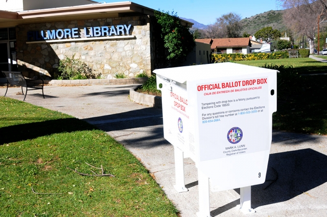 "This past weekend an Official Ballot Drop Box was installed in front of the Fillmore Library on the corner of Second Street and Central Avenue. Written on the side of the box ""Tampering with drop box is a felony pursuant to Elections Code 18500. For any questions or concerns contact the Elections Division's toll free at 1-800-500-3555 or at 805-654-2664."" Be sure to cast your ballots for this year's election."