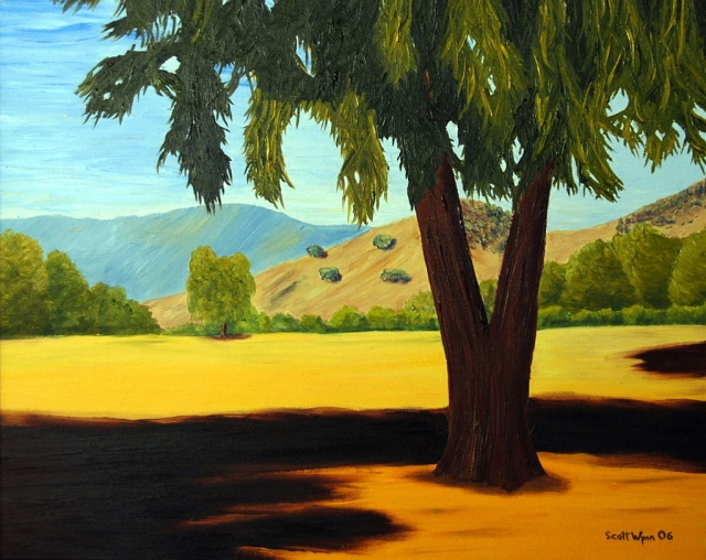 """Mid Morning Under The Eucalyptus"" Oil On Canvas."