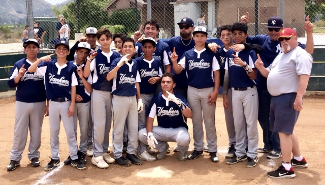 This past Saturday, May 18th the Junior Division Fillmore Yankees Baseball team defeated the Santa Paula Junior Diamondbacks 3 -2 to claim the District 63 South Playoffs Championship title. The Fillmore Yankees completed their season as first place in standings with 12 wins, 4 losses, and 2 ties out of 11 teams in the South-Junior Division.  Thanks to everyone who came out to support these teams and coaches.  Next up for the Yankees is District 63 North vs. South Championship Saturday June 1st (time and location TBA).  Come out and show your support! (l-r) Jacob Navarro, Isaac Garibay, Nate Torres, Nathan Delgadillo, Andrew Portugal, Isaia Gutierrez, Jacob Muñoz, Dorian Foster, Oscar Navarro, David Jimenez, Anthony Chessani, Ivan Becerra, David Montes, Coaches: Sergio Becerra and Gene Evans, Manager: Alex Portugal.