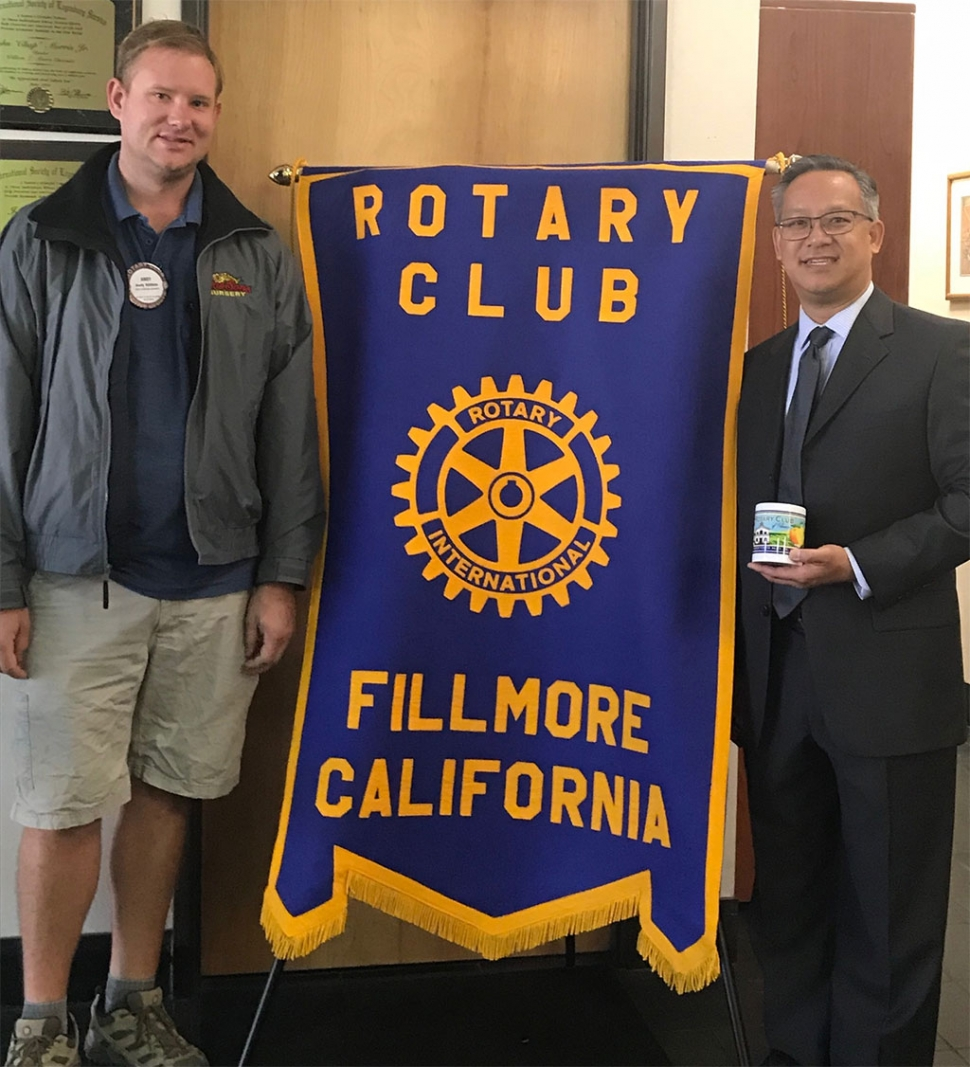 (l-r) Rotary President Andy Klittich with Deputy DA Brandon Ross, who presented a very informative and interesting program on Project LEAD, Legal Enrichment and Decision Making. Photo courtesy Andy Klittich.