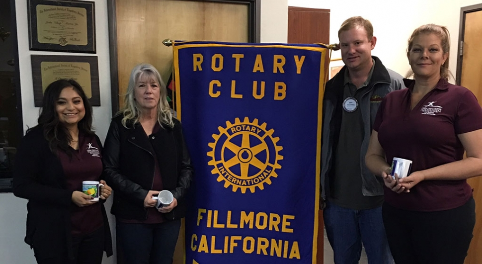 Teen Challenge presenters Katie, Director Rosie Weir and Ashley gave an informative program to Fillmore Rotary Club last week. They are pictured with Rotary president Andy Klittich. Teen Challenge is a one year residential program in Ventura for women 18 and up. The program helps people become mentally sound, emotionally balanced, physically well and spiritually alive. Photo courtesy Martha Richardson.