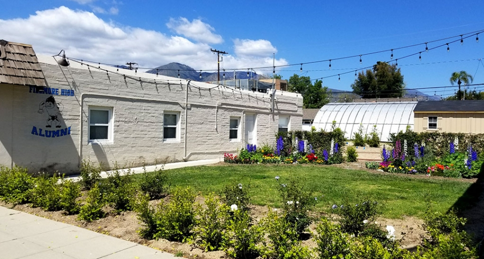 The Fillmore Alumni office planted a beautiful flower garden on the east side of their property, and had some concrete work done. A new shed was added to the back of their property as well.