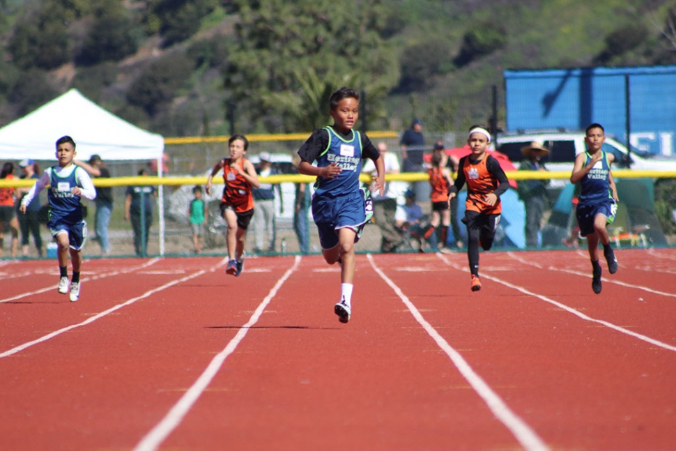 On Saturday March 16th the Heritage Valley Blazers kicked off their 2019 Track and Field season at the Fillmore High School Track. Pictured are the Fillmore runner's leading the pack is Timothy Pillado II (9-10yr/boys) who won the 100m and 400m races. Photos courtesy Erika Arana.