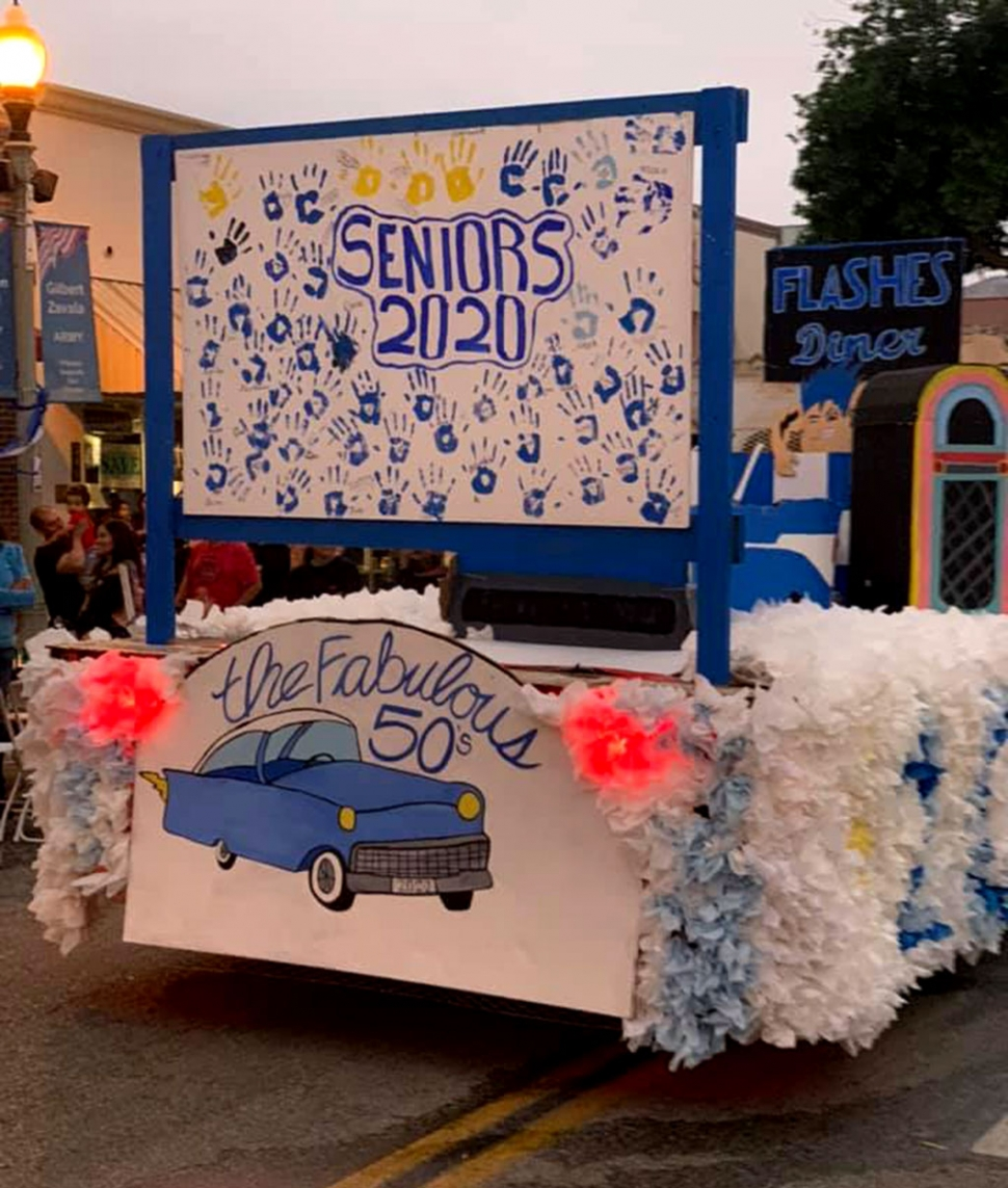 "The FHS Homecoming Parade took place and as tradition would have it the students from each class created a float to represent their class. This year's theme was ""Flash Through the Decades."" Pictured above is the Senior Class float which reads ""The Fabulous 50's."" Photo courtesy Mark Ortega, FHS Alumni President."