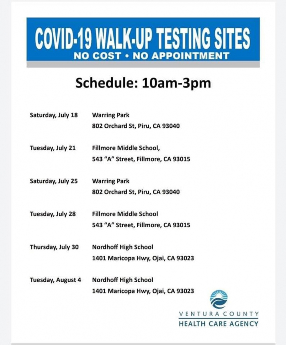 The Ventura County Healthcare Agency will be holding COVID-19 walk-up testing sites in Fillmore and Piru requiring no fee or appointment. Please see the above flyer for dates, times and locations. Courtesy City of Fillmore.