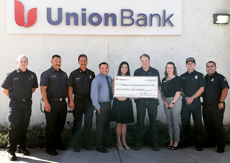 The Fillmore Fire Department would like to thank Union Bank for their generous donation of $2,500 to the Fillmore Fire Foundation. Photo courtesy Fillmore Fire Department.