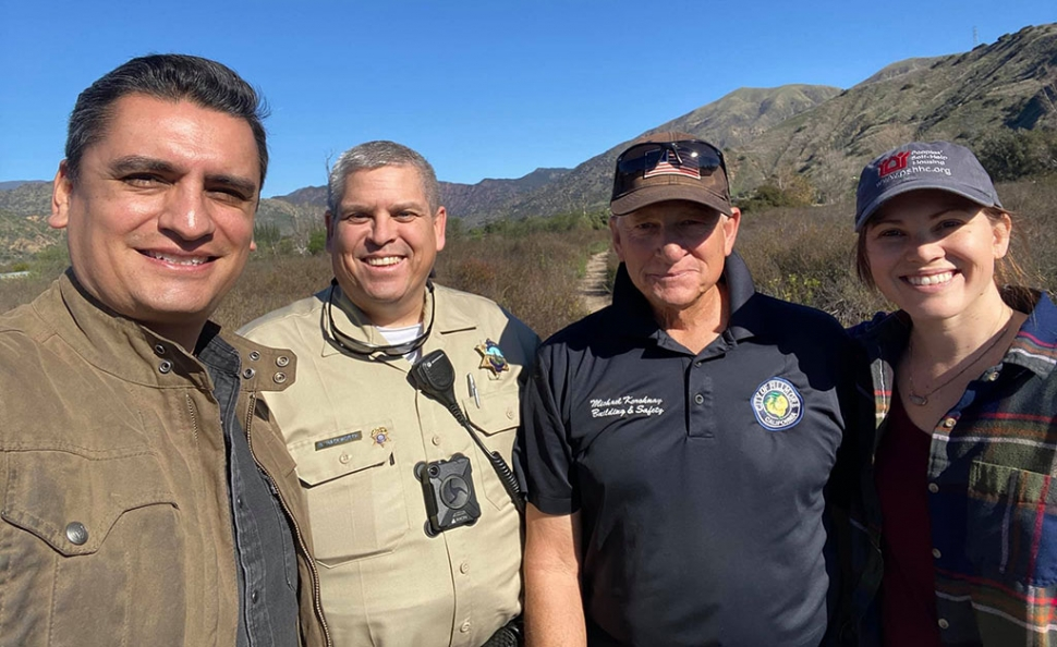 On January 29th Fillmore City Council Member Manuel Minjares was joined by three wonderful individuals to conduct the annual County of Ventura Point in Time Homeless Count in the Fillmore and Piru areas. Pictured with Manuel Minjares, from left to right, are Ventura County Sheriff's Senior Deputy Brian Hackworth, City of Fillmore Building Inspector Michael Koroknay, and Peoples' Self-Help Housing Project Manager Lauren Nichols (not pictured, Maria Christopher). Courtesy Manuel Minjares Facebook Page.