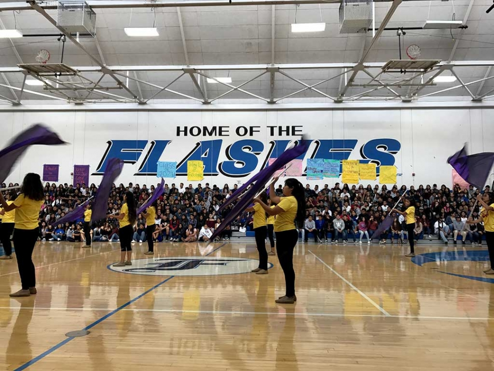 On Thursday, November 9th Fillmore High School hosted its Renaissance Rally, where it recognizes students who have achieved high GPA's or have shown great improvement academically. Pictured above is the Fillmore High School Color Guard preforming during the rally. Photos courtesy Katrionna Furness.